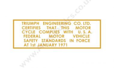 Triumph - USA Safety Standards 1971 Transfer