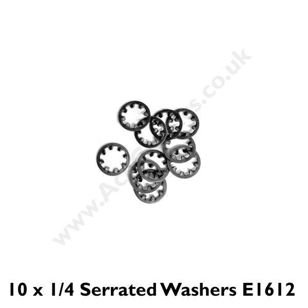 Pack of 10 x 1/4 Serrated Washers E1612